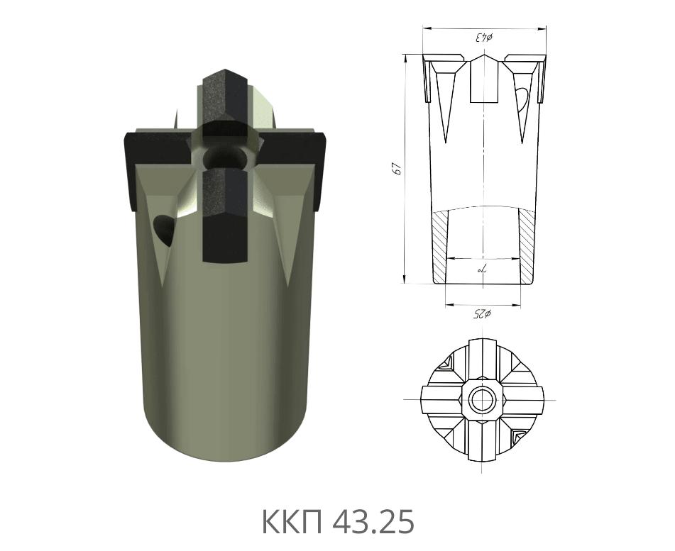 Коронка буровая ККП 43.25