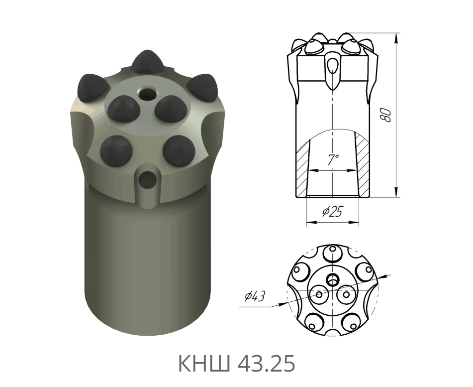 Коронка буровая КНШ 43.25